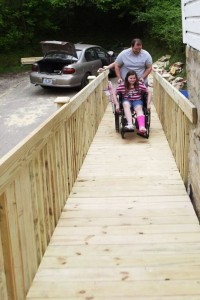 Chloe's first ride up the ramp